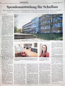 """Zeitungsseite der DNN mit dem Artikel """"Spendensammlung für Schulbau"""""""
