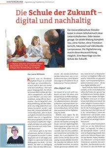 """Seite 1 der Reportage """"Die Schule der Zukunft – digital und nachhaltig"""" im Heft Grundschule"""