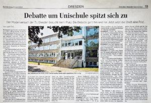 """Artikel in den Dresdner Neuesten Nachrichten vom 3.6.21 """"Debatte um Unischule spitzt sich zu"""""""