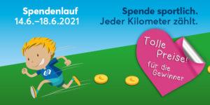 Werbeflyer für den Spendenlauf im Comicstil: Ein Kind läuft über eine Wiese und sammelt Spendentaler.