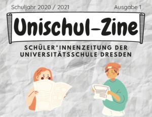 Ausschnitt der Titelseite der Schülerzeitung Unischul-Zine mit einer gezeichneten Schülerin und einem Schüler, die Zeitung lesen.
